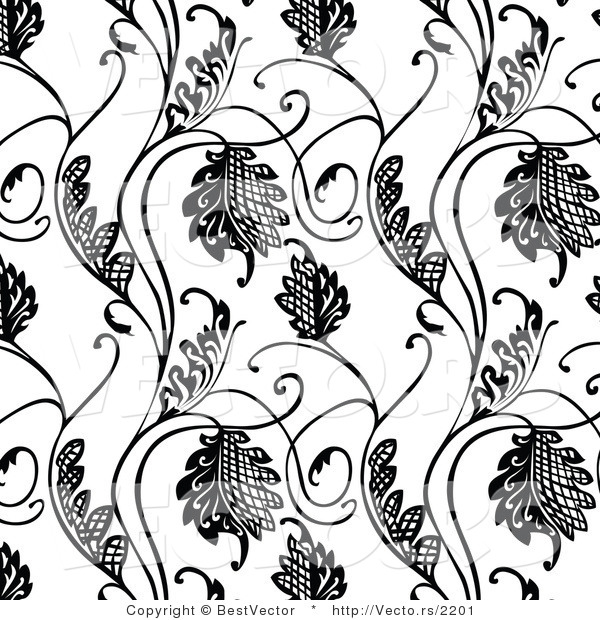 Vector of Black and White Floral Hatch Vines - Seamless Digital Background