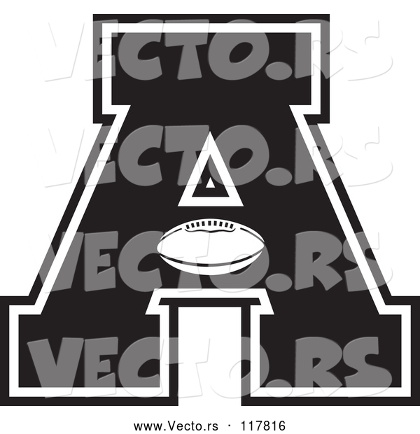 Vector of Black and White Football Letter a