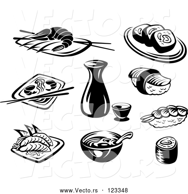 Vector of Black and White Japanese Food and Dishes