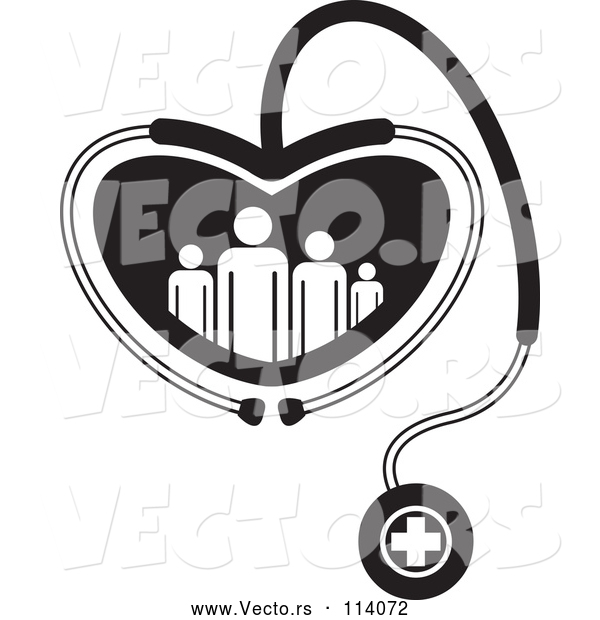 Vector of Black and White Medical Stethoscope Forming a Heart Around a Family