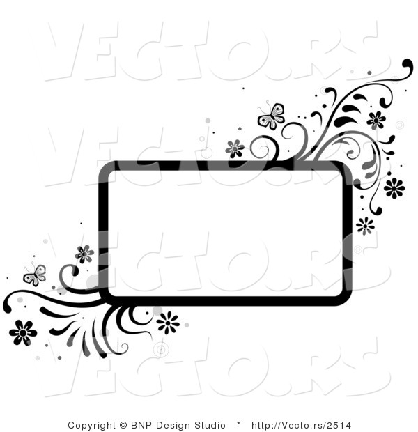 Vector of Black and White Rectangular Background Frame with Vines and Butterflies