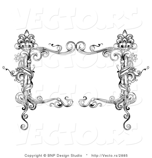 Vector of Black and White Rectangular Vintage Floral Vine Frame with Blank Text Box