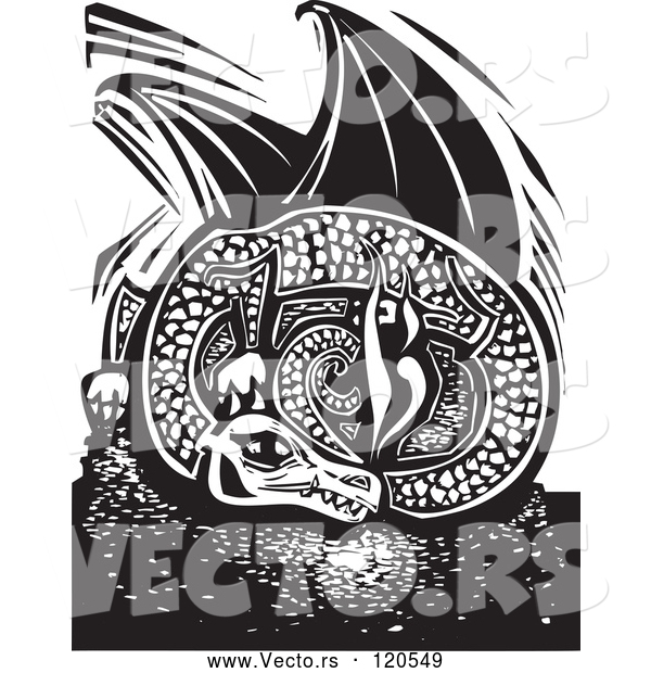 Vector of Black and White Resting Fire Breathing Dragon Woodcut