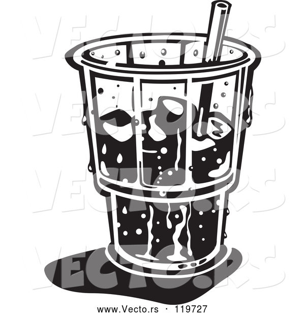 Vector of Black and White Retro Ice Cold Glass with a Straw and Ice