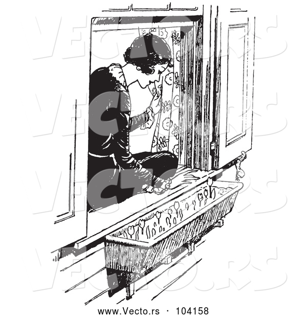 Vector of Black and White Retro Lady Sitting in a Window Sill and Looking at Flowers