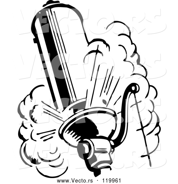Vector of Black and White Retro Steam Whistle