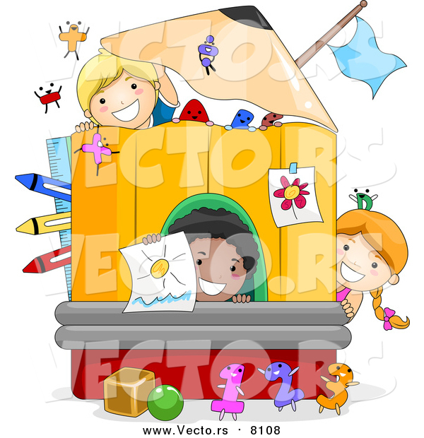 Vector of Black and White School Kids Playing in a Pencil Designed Play House