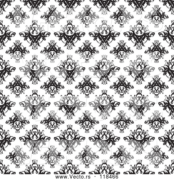 Vector of Black and White Seamless Damask Pattern