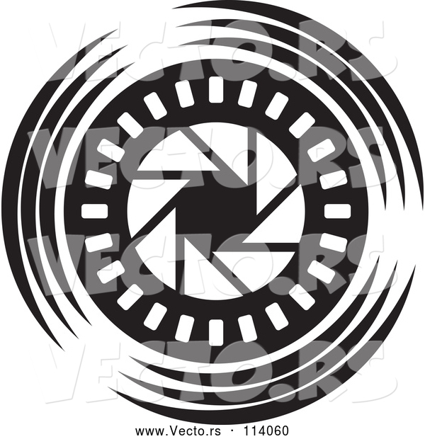 Vector of Black and White Shutter Icon