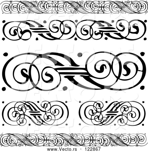 Vector of Black and White Swirl Borders and Rules