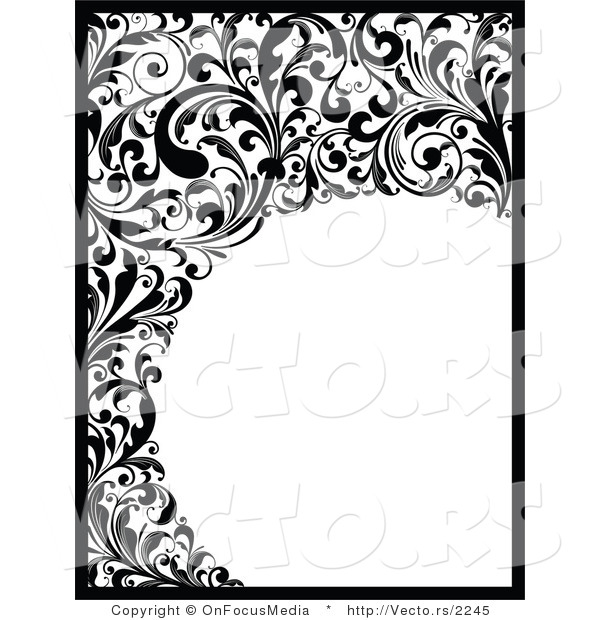 Vector of black and white vines and scrolls border around circle blank copyspace design by - Any design using black and white ...