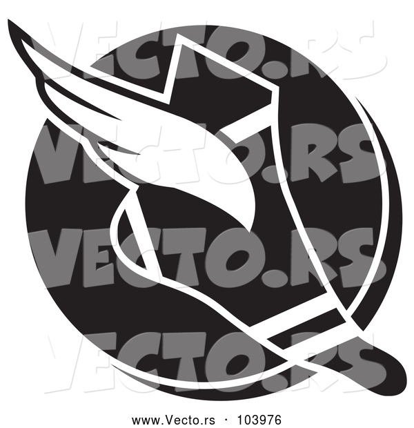 Vector of Black and White Winged Track and Field Shoe over a Circle
