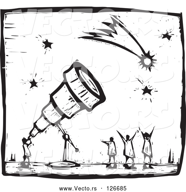 Vector of Black and White Wood Carving Styled Astronomer Using a Telescope to View Comets and Stars