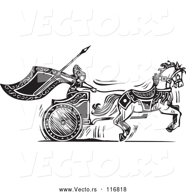 Vector of Black and White Woodcut Charging Viking Valkyrie and Horse Chariot