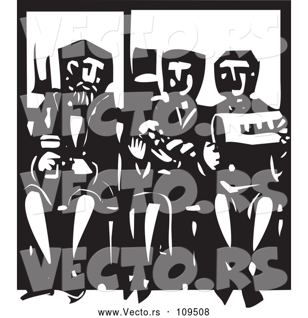 Vector of Black and White Woodcut Woman Holding a Baby and Sitting Between Men on a Subway