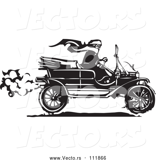 Vector of Black and White Woodcut Woman Wearing a Scarf and Driving an Antique Model T Car