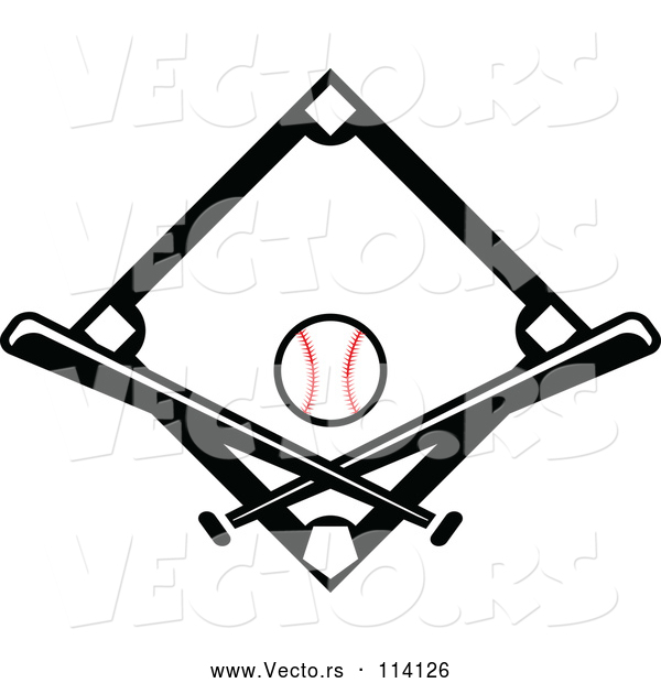Vector of Black Baseball Diamond with a Ball and Crossed Bats