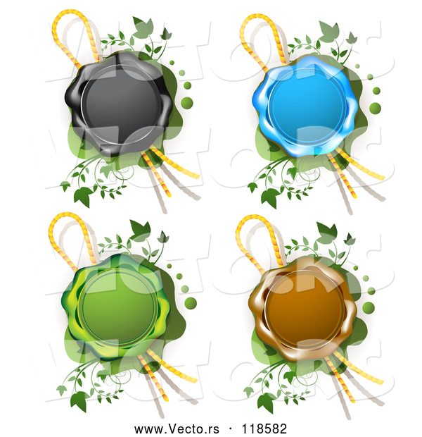 Vector of Black Blue Green and Brown Wax Seals with Ribbons over Green with Vines