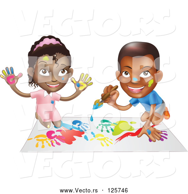 Vector of Black Boy and Girl Hand Painting and Painting Together