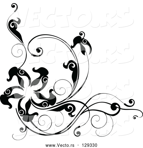 Vector of Black Corner Design with Leafy Vines and a Star or Starfish