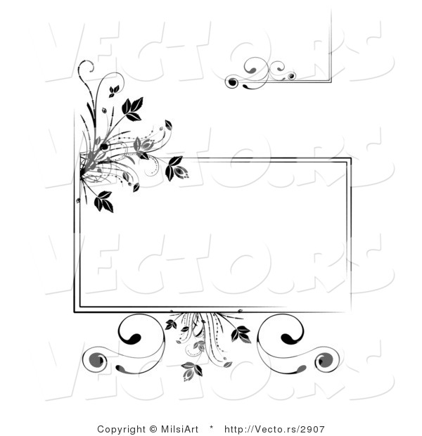 Vector of Black Floral Frames and Borders - Digital Collage