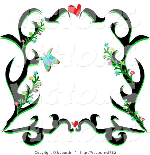 Vector of Black Floral Vines Border Design with Love Hearts and Butterflies