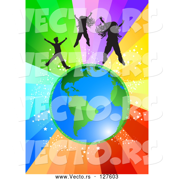 Vector of Black Girls and a Boy Jumping Above Planet Earth over a Starry Rainbow Burst Background