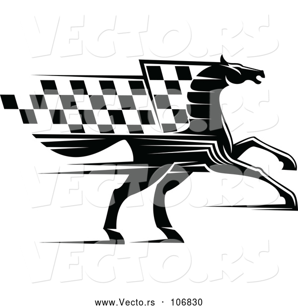 Vector of Black Horse with a Checkered Racing Flag Mane