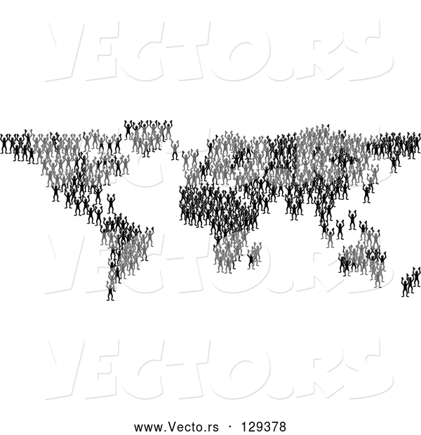 Vector of Black Silhouetted People Crowding Together and Forming the Global Continents