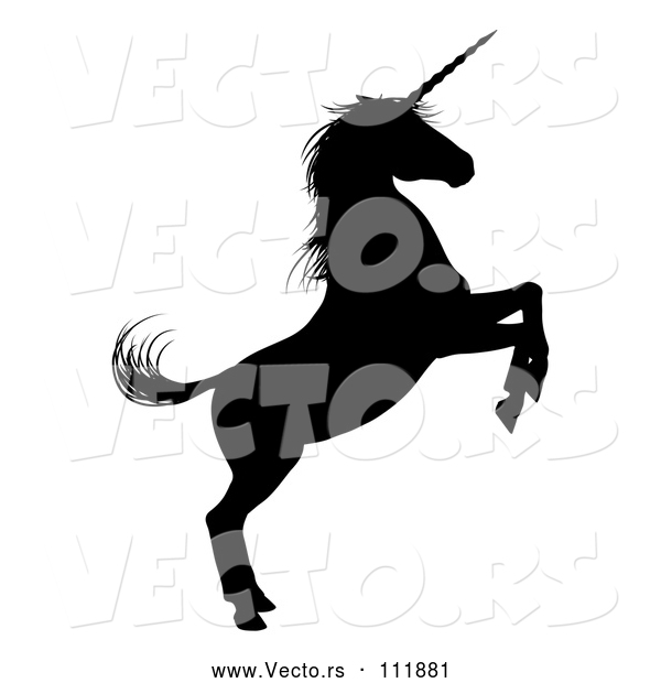 Vector of Black Silhouetted Rearing Unicorn in Profile, Facing Right