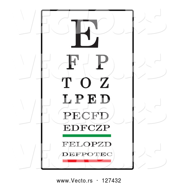 Vector of Black, White, Green and Red Eye Chart