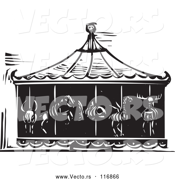 Vector of Black Woodcut Carousel of Death with Animal Skeletons