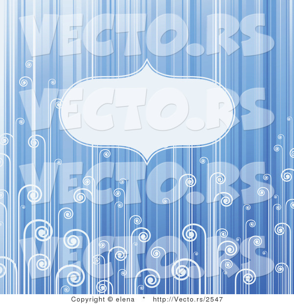 Vector of Blank Copyspace Background with Blue Stripes and Swirls
