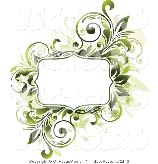 Vector of Blank Copyspace Bordered by Green Vines and Beige Splatters