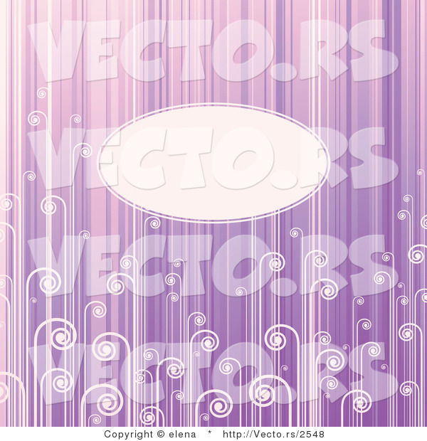Vector of Blank Oval Copyspace Background with Light Purple Stripes and Swirls