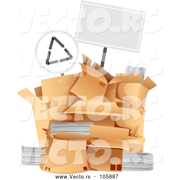 Vector of Blank Sign over a Pile of Boxes with Recycleable Materials
