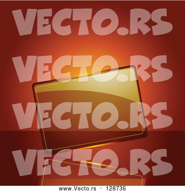 : Vector of Blank Transparent Glass Plaque on an Orange Background