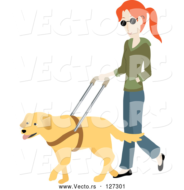 Vector of Blind White Lady Walking with a Yellow Labrador Guide Dog