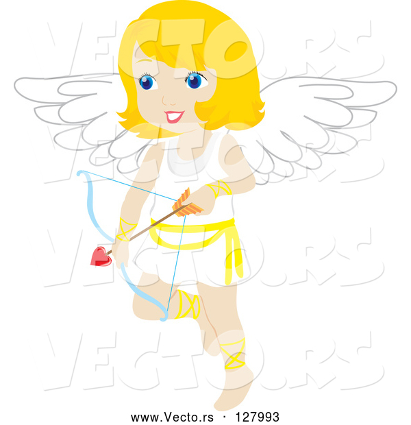 Vector of Blond Female Cupid with a Heart Arrow