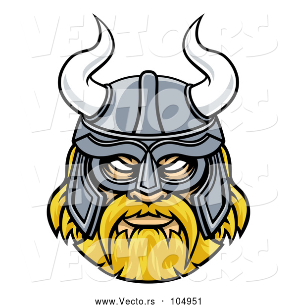 Vector of Blond Male Viking Warrior Face Wearing a Horned Helmet