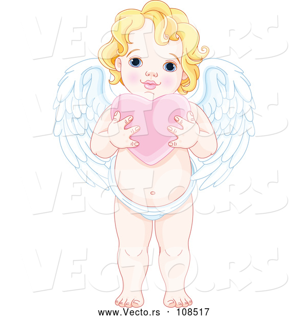 Vector of Blond White Baby Cupid Holding a Pink Valentine Love Heart