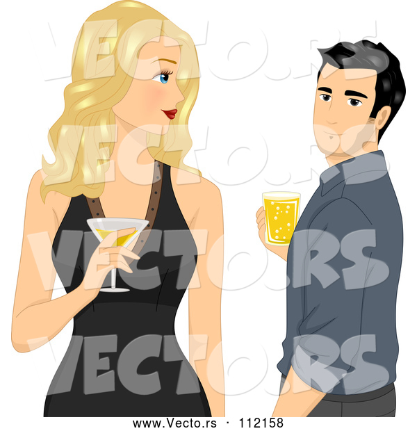 Vector of Blond White Lady Holding a Cocktail and Looking Back at a Handsome Guy