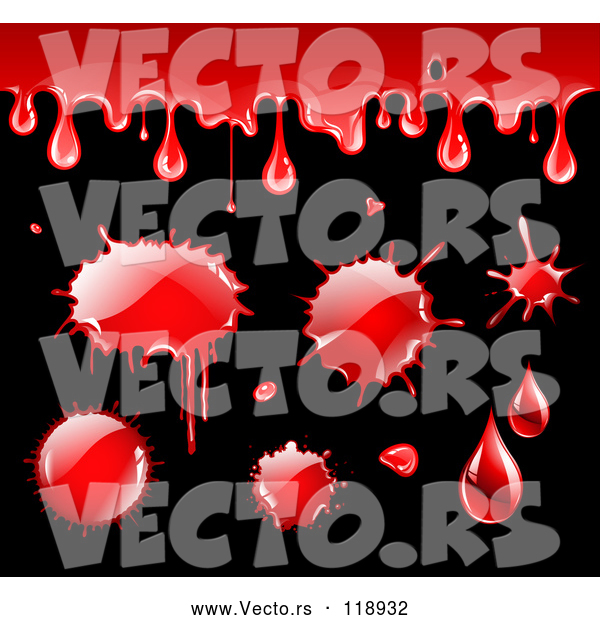 Vector of Blood Drips and Splatters