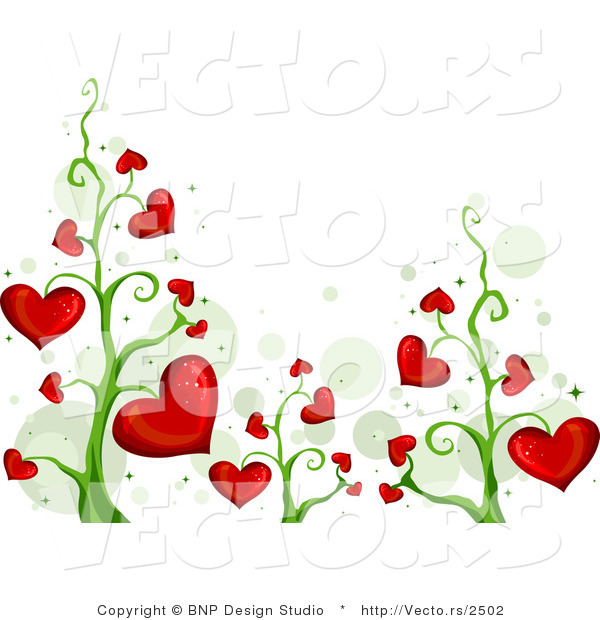 Vector of Blooming Red Love Heart Vines Background Border Design