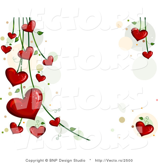 Vector of Blooming Red Love Hearts on Vines - Background Design