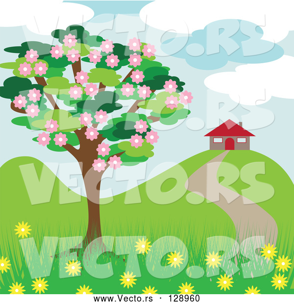 Vector of Blossoming Tree near a House in the Spring