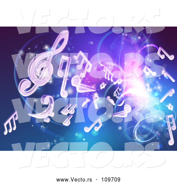 Vector of Blue and Purple Background of Bright Neon Lights, Flares and Floating Music Notes