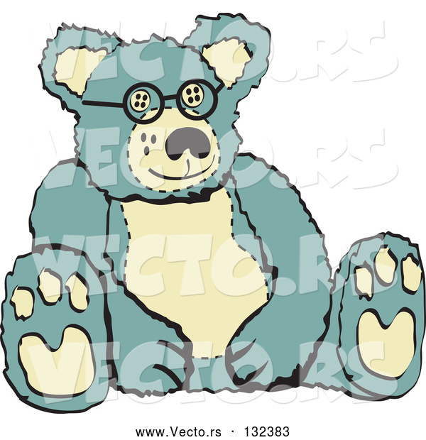 Vector of Blue and Tan Stuffed Teddy Bear Wearing Glasses Retro