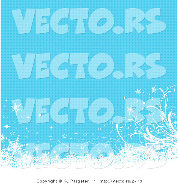 Vector of Blue Background with Halftone Dots, White Floral Grunge and Snowflakes