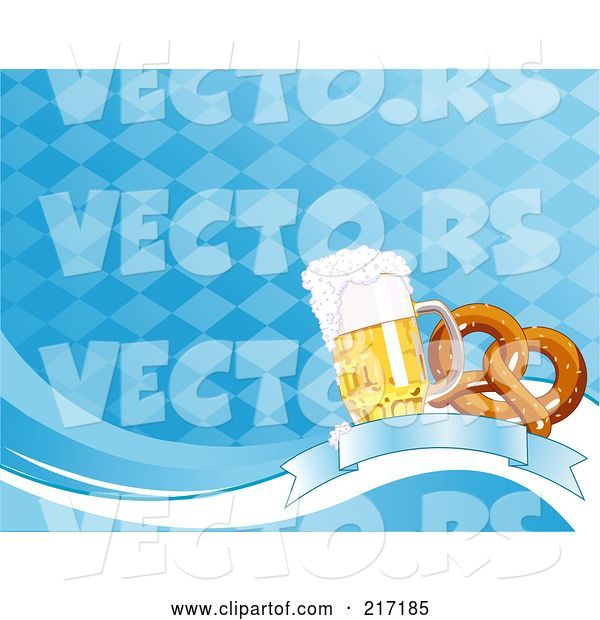 Vector of Blue Diamond Oktoberfest Background of Beer and a Soft Pretzel on a Banner